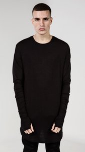 Neue Hip Hop T-Shirt Männer High Low Side Daumenloch Split T-Shirt Langarm Tyga Swag Mann Polyester T-Shirt Rundhalsausschnitt Kleidung Heißer Verkauf