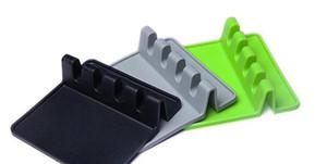 Кухонная утварь отдых ложка горшок кастрюля крышка горшок лопатой держатель пищевой силиконовые инструменты полка серый и зеленый Бесплатная доставка