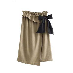 jupe mi-longue à volants élégant paperbag taille élastique conception noeud papillon ceinture ceintures dames jupes irrégulières falda mujer