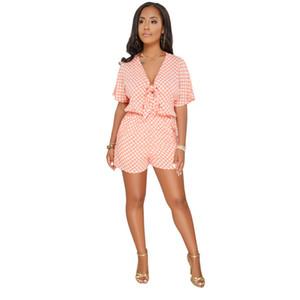 Бесплатная доставка Dot Print Женщины Rompers S-3XL Deep V шеи повязку комбинезон летние шорты комбинезон комбинезон в целом