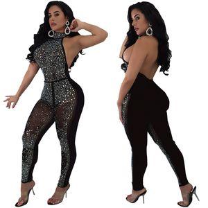 Tute Mesh sexy per le donne Black vedere attraverso pizzo Body aderente tuta Party Night Club F0017 Body Backless Shinning Strass
