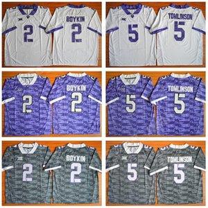 NCAA Kolej 2 Trevone Boykin Jersey Erkekler TCU Boynuzlu Frogsb Futbol 5 LaDainian Tomlinson Formalar Büyük 12 Dikişli Takım Mor Beyaz Gri