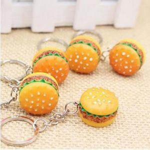 3D Reçine Hamburger Anahtarlık Mini Gıda Hamburger Anahtarlık Altın Karabina Anahtarlıklar Anahtarlık Hangbag Tutar 30 adet
