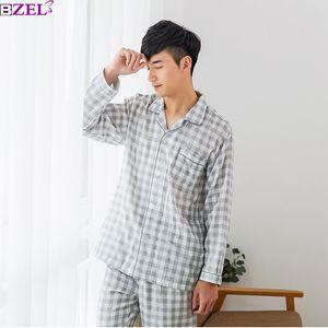 Men's Pajamas Autumn Winter Long Sleeve 100% Cotton Pyjamas Sleepwear Male Stripe Lounge Pajama Sets Plus size Nightwear S-XXL