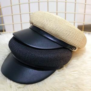 Beckyruiwu 2018 Cuoio del cappello di paglia di Sun solido di colore Navy Cappello Uomini strillone Caps estate delle donne piana di modo Army Navy Cap