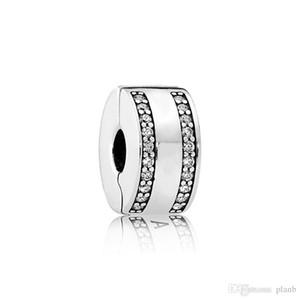 Auténtico Real Plata Esterlina Circular clip fijo con Clear CZ piedra Fit Pandora Silver Charms Joyas Pulsera DIY