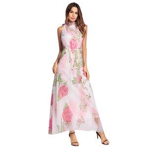 European and American women wearing 2018 spring new high necked chiffon dress, Bohemia wind Beach Dress vestido bonitos para mujeres