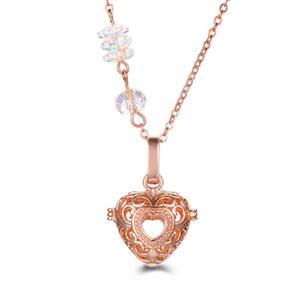 Schneeflocke Kristall Anhänger Hohle Blume Parfüm Diffusor Medaillons 2018 Mode Kleine Herzförmige Aromatherapie Halskette Anhänger Zubehör