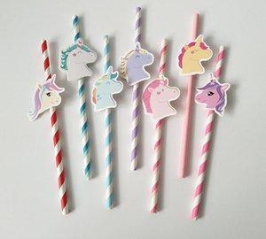 Unicorn Kağıt Içme Saman Renkli Payet Unicorn Doğum Günü Süslemeleri Bebek Duş Çocuklar Çocuk Parti Iyilik SN230