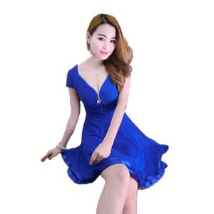 Nightclub Vestido Europa US Sexy meninas V-Neck Zippers mini vestido azul sólida rendas cor Patchwork soltos tamanho livre plissada Mermaid vestidos