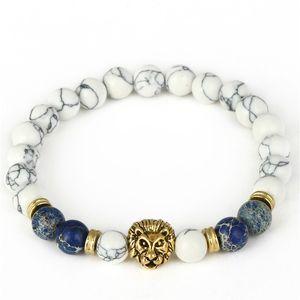 Envío de la gota 8mm Lab White Howlite Stone Bead Bracelet Antique Gold Color Lion Head Charm Pulsera de Yoga High Grade Mens Jewelry