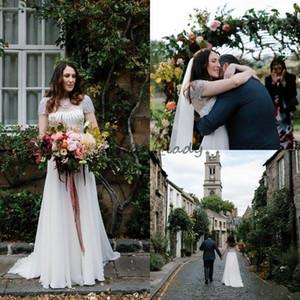 2018 Garden Jenny Packham abiti da sposa brillanti strass in rilievo cerniera indietro una linea manica corta da favola all'aperto abito da sposa