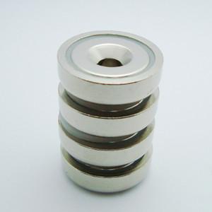 Nuovo Super Strong 4pcs dia25mm pot magnet 14KGs Tirando Neodimum Pot Magnet Dia25x7.7mm con M5 Foro svasato Montaggio Magnetic Pot