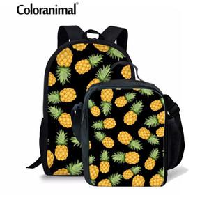 Coloranimal 3D Fruit Children Impressão Mochila Escolar abacaxi Schoolbag estudante primário Bagpack 3PCS Set ombro ortopédico Bag