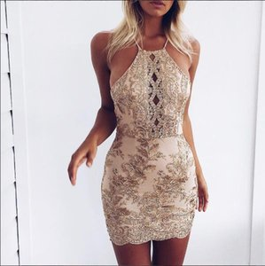 2018 Sexy Fashion New Gold Thread Lace Stitching Halter Elegante Vestido Sexy Retro para Mujeres S-XL