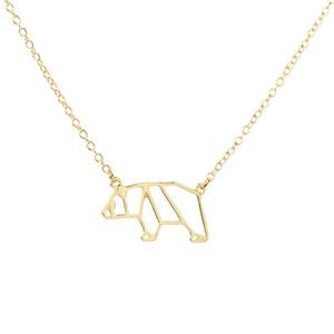 hueco pequeño collar del oso dama geométrica origami polar oso collar contorno para panda oso hueco animal colgante collar joyería