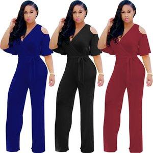 여름 2018 플러스 사이즈 섹시한 Bodycon Jumpsuit Boho Harem 오버올 바디 로터스 넓은 다리 Clothings 무료 배송