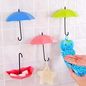 LYL 3 pièces / lot mignon forme parapluie coloré autocollants Organisateur mur porte Crochet de bain Cuisine Sticky Keys Holde
