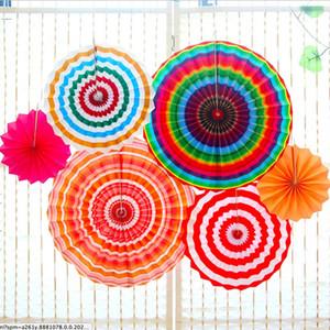 Çevre Dostu Bir Set Renkli Kağıt Hayranları Yuvarlak Tekerlek Disk Doğum Çocuk Parti Dekorasyon Olay Anaokulu Kutlama Ev Duvar Dekoru