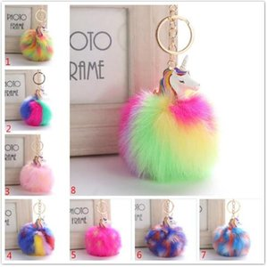 Fluffy Metalllegierung Einhorn Pom Keychain Anhänger Nette Pompom Künstliche Kaninchenfell Ball Schlüsselanhänger Tasche Auto Schlüsselanhänger Hang Tasche 9 CM