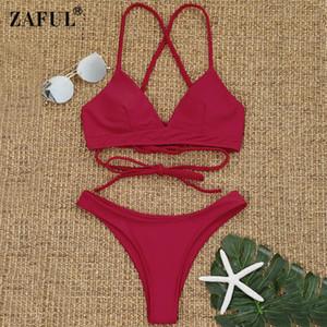 Großhandelsgepolsterter Bikini-Kreuz zurück geflochtener Cami-Zapfen-Frauen-Badeanzug-Bikini-gesetzte reizvolle niedrige Taille Beachwear feste Biquni Badebekleidung