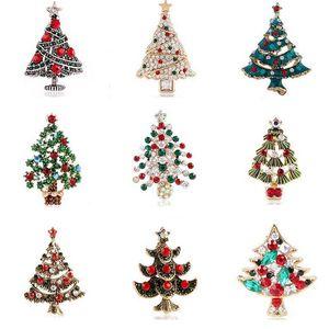 Neue Ankunfts-Weihnachtsbaum Brosche Strass Kristall Klage-Revers Pin Weihnachten Schmuck Accessoires Geschenk für Liebe Multistyle