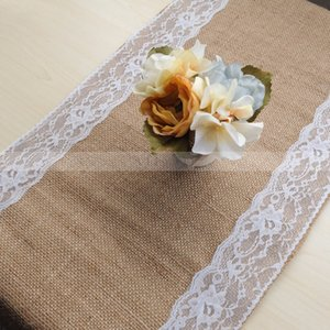 VEEYOO 5 PCS 14x108 inch Vintage Jute Burlap Hessian Lace Table Runner Linens Cover Banners for Home Wedding Party Decorations