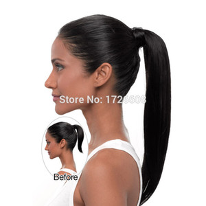 Langer Pferdeschwanz-Clip in der Pferdeschwanz-Haarverlängerung für schwarze Frauen wickeln auf Haarteil gerade Art 100% hochwertiges freies Verschiffen ein