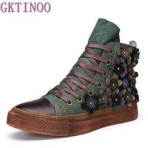 Gktinoo Осень Зима женщины ботильоны натуральная кожа ретро обувь ручной работы обувь на шнуровке женщины плоские удобные туфли