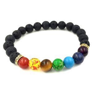 2018 Nouveau 7 Chakra Bracelet Hommes Noir Lava Guérison Équilibre Perles Reiki Bouddha Prière Pierre Naturelle Yoga Bracelet Pour Les Femmes