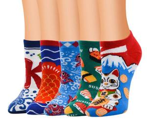 2019 новое прибытие женщина мода прекрасный хлопок 3D fortune cat печатных повседневная носок поглотить пот носки ножной браслет #73