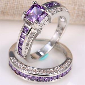 Con incrustaciones Square Purple Crystal Zircon Princess Rings Set Trendy Ladies Anillo de Compromiso de Zircon Completo Regalos de Joyas de Novia de Moda