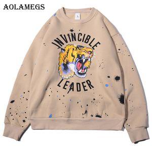 Aolamegs الذكور البلوز النمر حبر طباعة سوياتشيرتس س الرقبة البلوز الشارع الشهير شارع الهيب هوب أزياء جديدة الخريف الشتاء