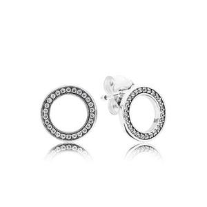 Auténticos 925 Sterling Silver Circles Pendiente con caja Original Fit Eternal Pandora Jewelry Stud Pendiente Mujeres Pendientes de Regalo de boda