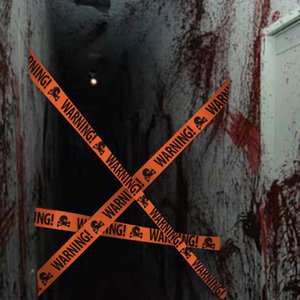 5pcs * 6 m Halloween Skull Warning Belt Accessorio Decorazione del partito Bar dell'hotel Haunted House Decor Event Supplies per feste # 11020