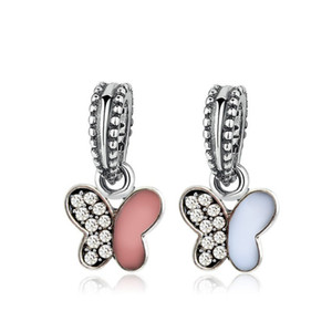 Crystal Painted Butterfly Dangle Unique Charm Bead Big Hole Fashion Women Jewelry European Style For Pandora Bracelet Necklace