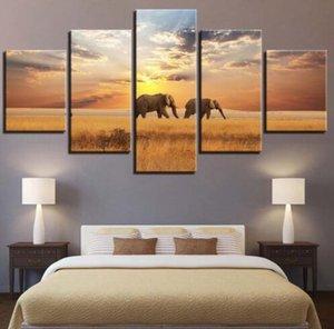 Obra de arte HD Prints Canvas Painting Decoración del hogar 5 piezas Elephant Animals Art de pared Imágenes modulares para Living Room Bedroom Poster