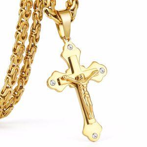 Acero inoxidable Color oro Cristal Jesús Cruz Collares pendientes 6mm Enlace pesado Cadena bizantina Hombres Collar Mn69 Regalo de Navidad
