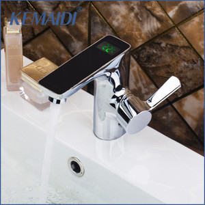 KEMAIDI Brass Chrome Polished Finish Digital Display Faucet Deck Mounted Mixer Sink Basin Water Tap Bathroom Faucet