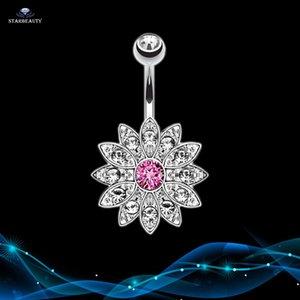 14G Sun Flower Petal Navel Piercing Ombligo Silber Rosa Kristallbauchn Ring-Körper-Piercing Nombril Pircing Bauchpiercing