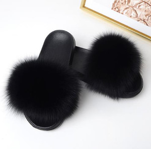 Women Summer Slippers Flat  Fur Slippers Nature Real Fur Beach Slippers Flat Slides Beach Sandals Lady Plush Furry Slides