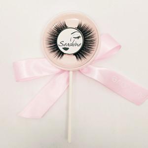 10 pares 3D Real MINK Lollipop Tallos de algodón hechos a mano Falsas pestañas Transparente Naturalmente gruesa Cruz desordenada Tira llena Maquillaje Pestañas falsas