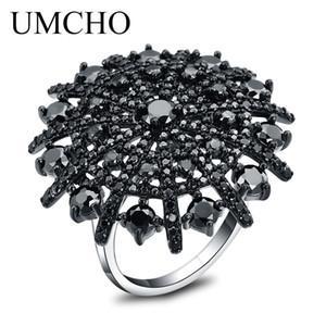 UMCHO Natural Gemstone Natural Black Spinel Anello Solid 925 Sterling Silver femminile Cluster Anelli per le donne gioielli tondo regalo Y18102510
