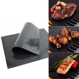 바베큐 그릴 매트 바베큐 그릴 라이너 휴대용 비 스틱 및 재사용 가능한 쉽게 굽고 만들기 33 * 40CM 0.2MM 블랙 오븐 핫 플레이트 매트