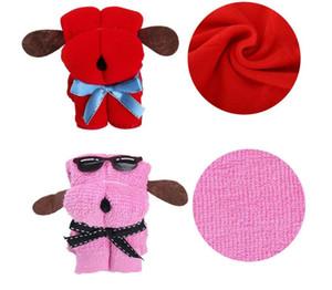 Día de boda Presente regalos de cumpleaños del multicolor lindo del perro de juguete de los niños forma de la torta de algodón de la toalla de la madre