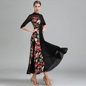 Ballroom Dance Competition Kleider Ice Silk Print Nähte Kleid Moderne Walzer Flamenco Tanzen Kleidung Frauen Dancewear DNV10182