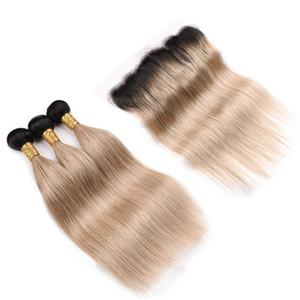 Ombre Color Honey Blonde sedoso Extensión de cabello liso con cierre frontal Dos tonos 1B 27 Virginal El cabello humano teje con Frontal 13x4