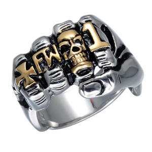 Lujoyce Skull Cluster Fist Finger Ring Punk Gothic Gold Silver Titanium Stainless Steel Unique Skull Rings for Men Jewelry