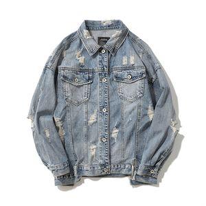 Männer beunruhigt Jeans Jacken costom Logo bedruckt Langarm-warmer Mantel Herbst Winterkleidung gewaschen