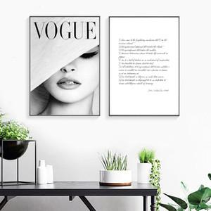 Nordic Abstract Girl VOGUE Blanco y negro Dos piezas Carteles e impresiones Arte de la pared Lienzo Pintura Muro Imágenes Arte sin marco